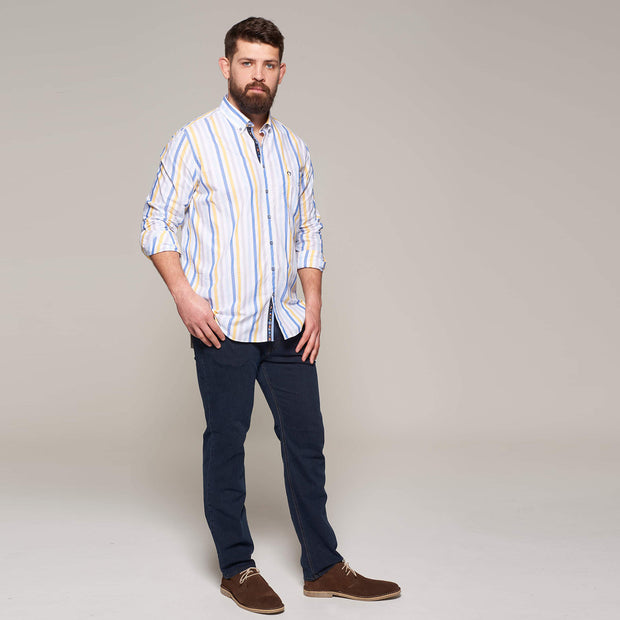 Fortmens modeling Campione White Blue & Yellow Striped Long Sleeve Shirts  - front view rolled sleeves