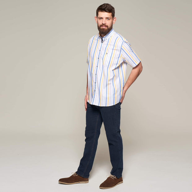 Fortmens model wearing Fortmens Campione White Blue & Yellow Striped Short Sleeve Shirt - back view
