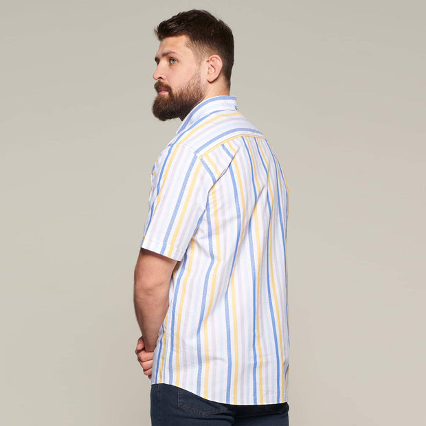 Fortmens model wearing Fortmens Campione White Blue & Yellow Striped Short Sleeve Shirt - full body view