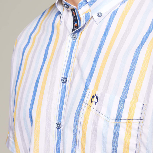 Fortmens model wearing Fortmens Campione White Blue & Yellow Striped Short Sleeve Shirt - front view