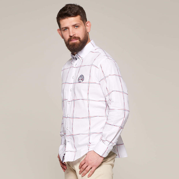 Fortmens model wearing a Fortmens Campione White Rope Pattern Long Sleeve Shirt - front view