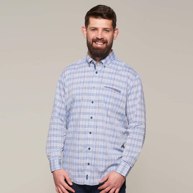 Fortmens model wearing Casa Moda Blue & Grey Check Long Sleeve Shirt - front view