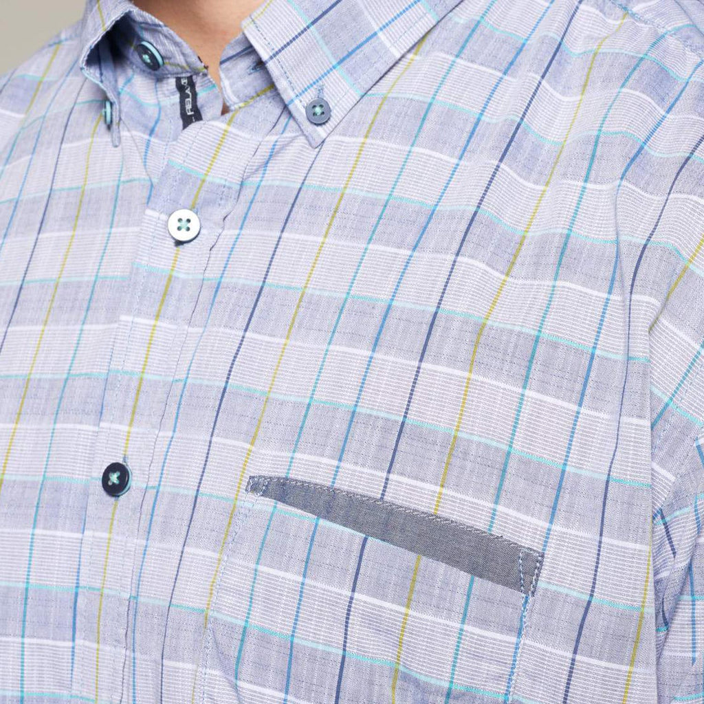 Casa Moda Blue and Grey checked shirt