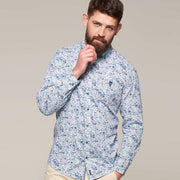 Fortmens model wearing a Casa Moda Blue & White Floral Pattern Long Sleeve Shirt - full body