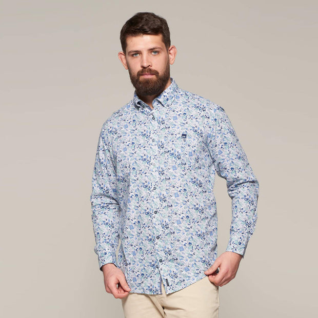 Fortmens model wearing a Casa Moda Blue & White Floral Pattern Long Sleeve Shirt - front view