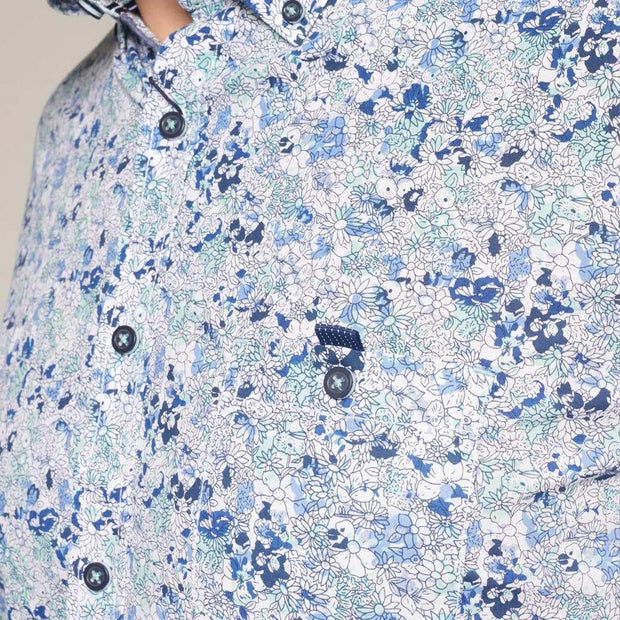Fortmens model wearing a Casa Moda Blue & White Floral Pattern Long Sleeve Shirt - close up side view
