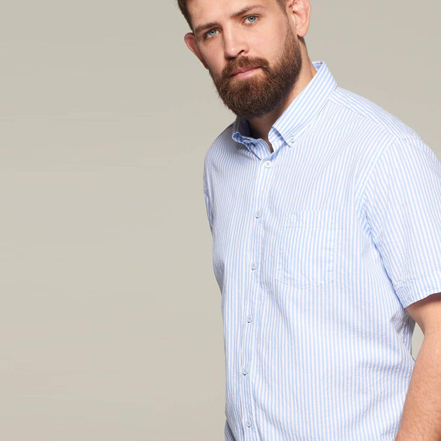 Fortmens model wearing a Casa Moda Blue & White Oxford Stripe Short Sleeve Shirt - front view
