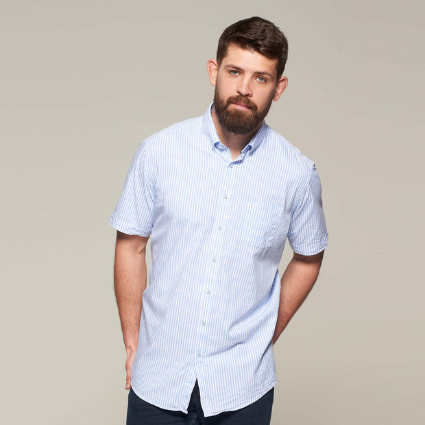 Fortmens model wearing a Casa Moda Blue & White Oxford Stripe Short Sleeve Shirt - front view side angle