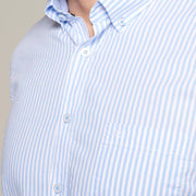 Fortmens model wearing a Casa Moda Blue & White Oxford Stripe Short Sleeve Shirt - full body view