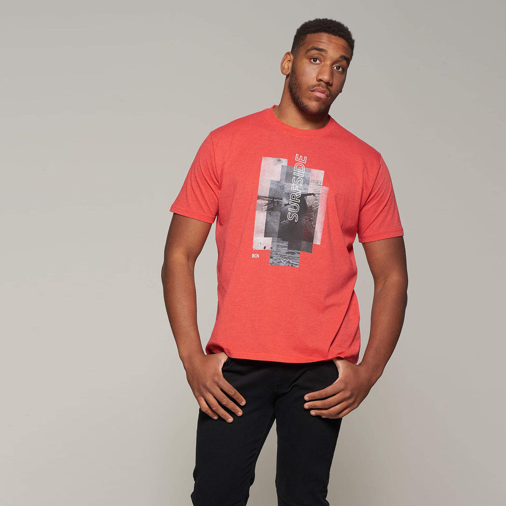 Big men's Sunset Coast T-Shirt in Red by Casa Moda