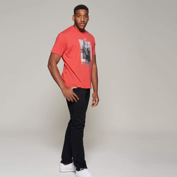 Fortmens model wearing a Casa Moda Sunset Coast T-shirt in Red - full body