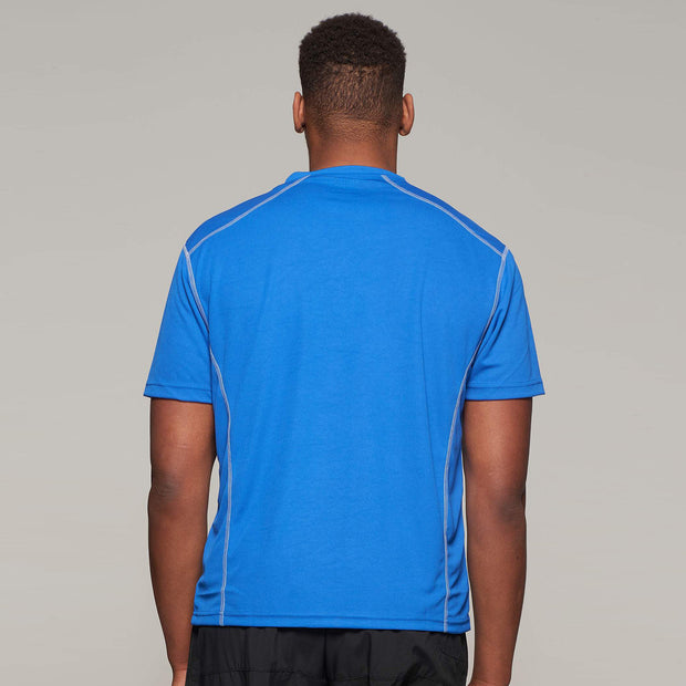 Fortmens model wearing a North 56°4 Blue Sport Running T-Shirt - full back view