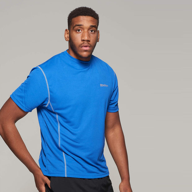 Fortmens model wearing a North 56°4 Blue Sport Running T-Shirt - back view