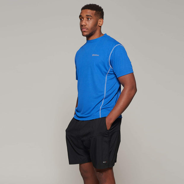 Fortmens model wearing a North 56°4 Blue Sport Running T-Shirt - full body view