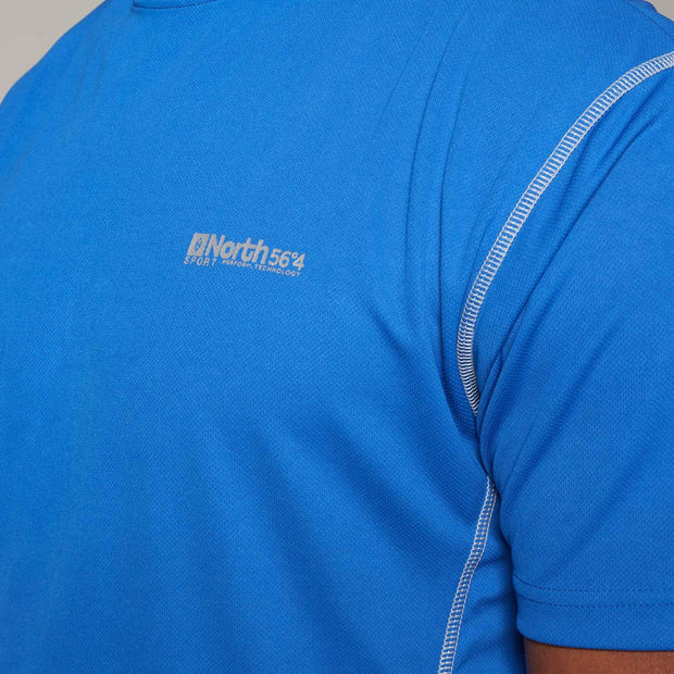 Fortmens model wearing a North 56°4 Blue Sport Running T-Shirt - close up