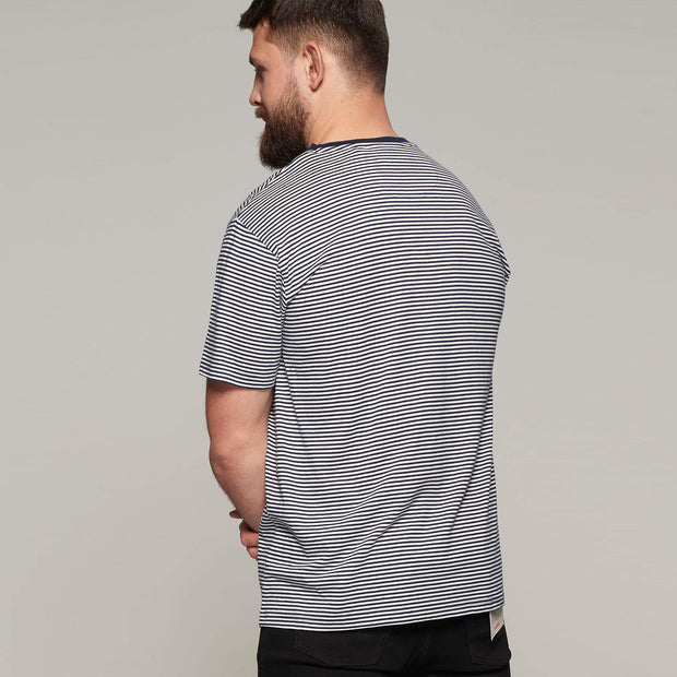 Fortmens model - North 56°4 Sustainable organic thin stripe t-shirt - back view