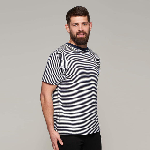 Fortmens model - North 56°4 Sustainable organic thin stripe t-shirt -front view