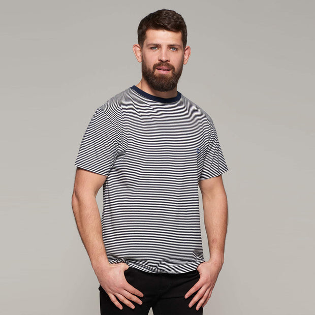 Fortmens model - North 56°4 Sustainable organic thin stripe t-shirt - side view