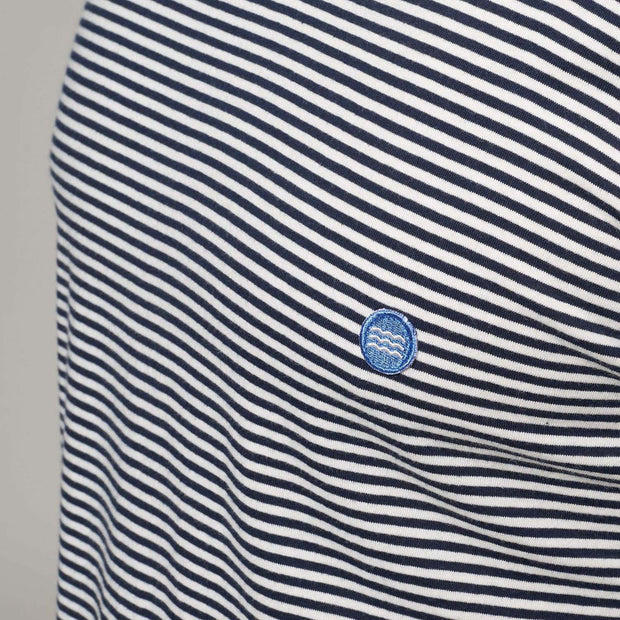 Fortmens model - North 56°4 Sustainable organic thin stripe t-shirt - close up