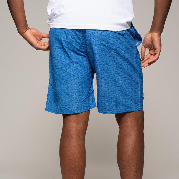 Fortmens North56 Allover Printed Swimshort in Mid Blue back view