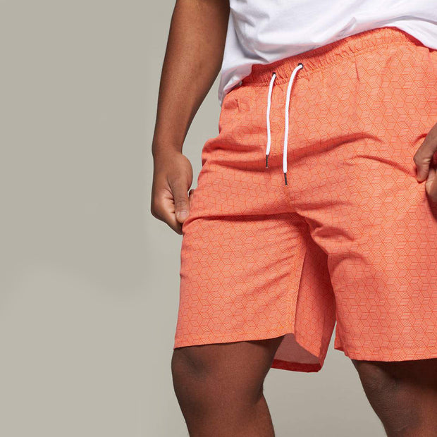 Fortmens North56 Allover Printed Swimshort in Orange front view