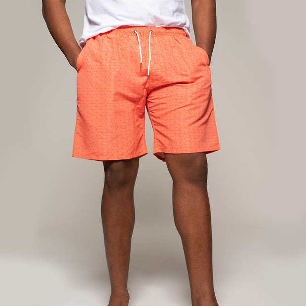 Fortmens North56 Allover Printed Swimshort in Orange close up view