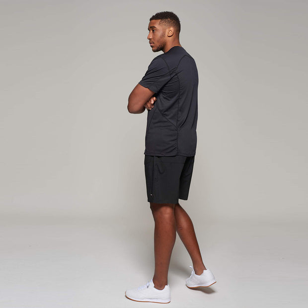 Fortmens model wearing a  North 56°4 Black Sport Running T-Shirt - full body