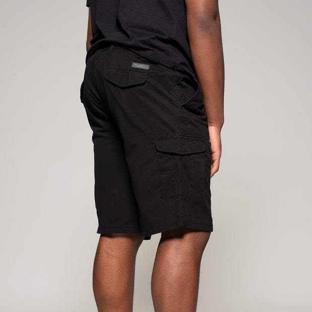 Fortmens model wearing Cargo shorts in black - front view