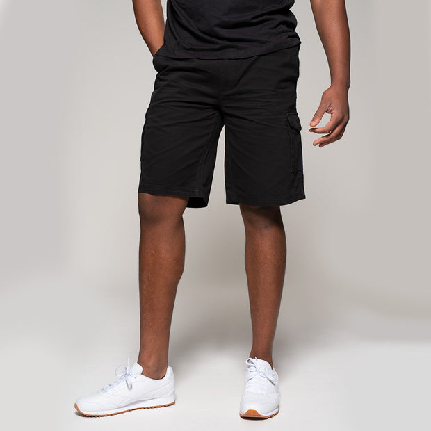 Fortmens model wearing Cargo shorts in black - side and back view