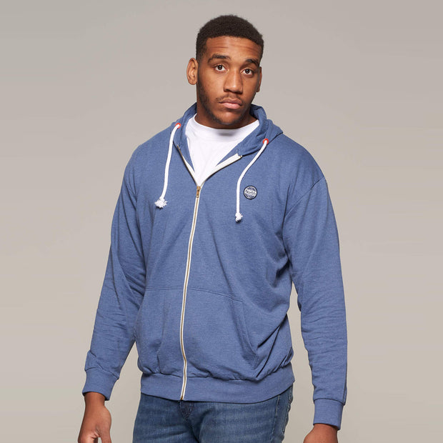 Fortmens model wearing a North 56°4 Cotton Hooded Cardigan in Blue - front view