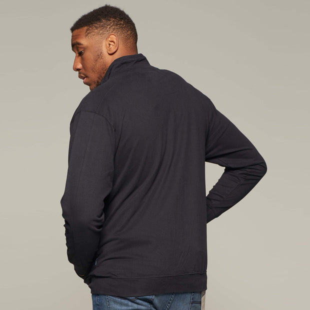 Fortmens model wearing a Cotton Sweat Cardigan in Black from North56 back view