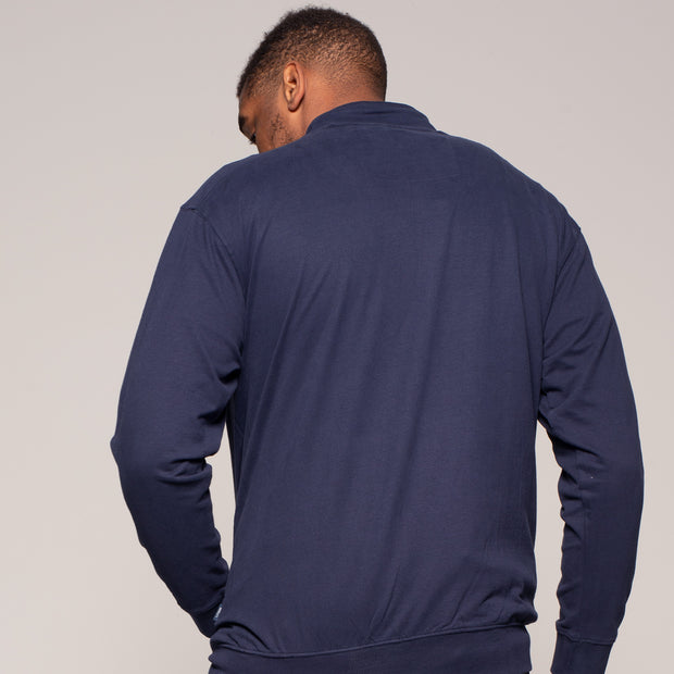 Fortmens model wearing a North 56°4 Cotton Sweat Cardigan in Navy Blue - front view zipped up