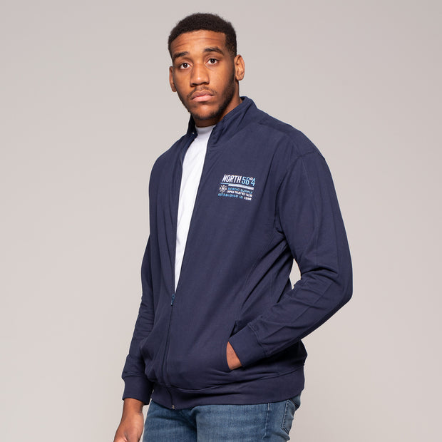 Fortmens model wearing a North 56°4 Cotton Sweat Cardigan in Navy Blue - front view
