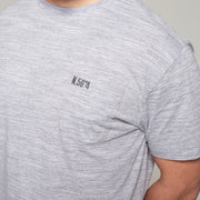 Fortmens model - North56°4 Crew neck t-shirt - Grey Melange - Close up