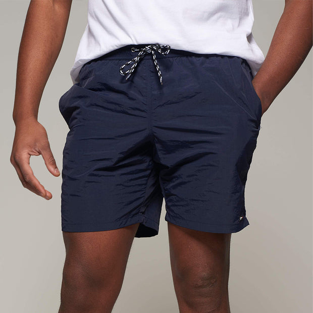 Fortmens model wearing a North56 Sport Swim Shorts - Navy Blue back view