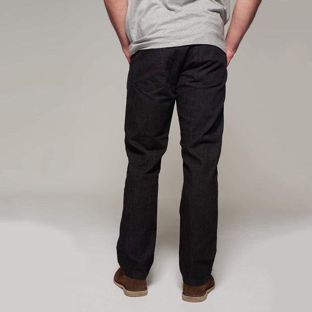 Fortmens modeling wearing a North 56°4 'Mick' Black Jeans- side view