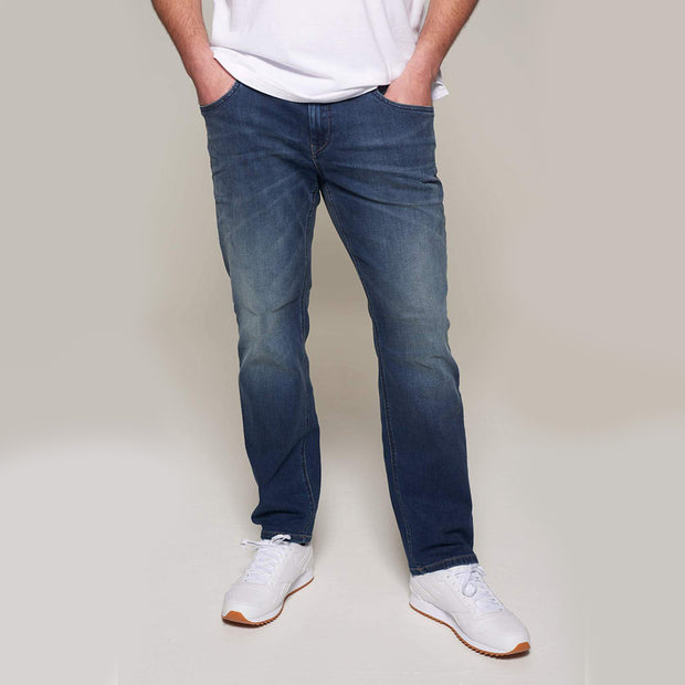 Fortmens model wearing Paddocks 'Ben' Dark Blue Denim Jeans - front view