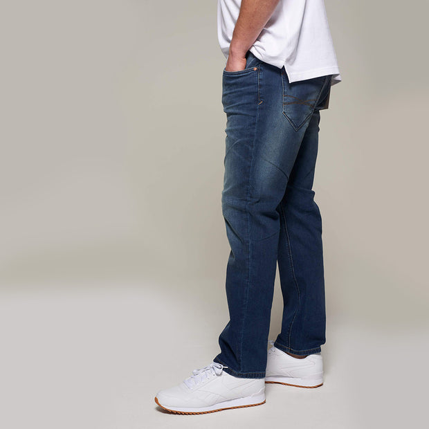 Fortmens model wearing Paddocks 'Ben' Dark Blue Denim Jeans - back view