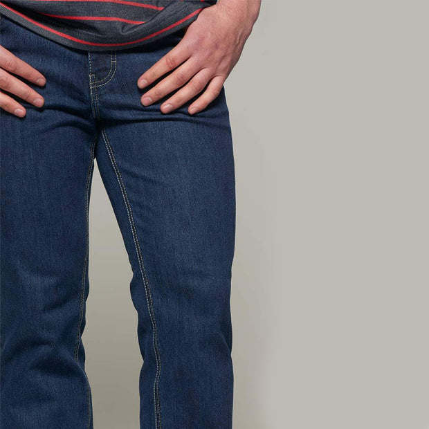 Fortmens model wearing a Paddocks 'Ranger' Dark Blue Denim Jeans - front view closer in