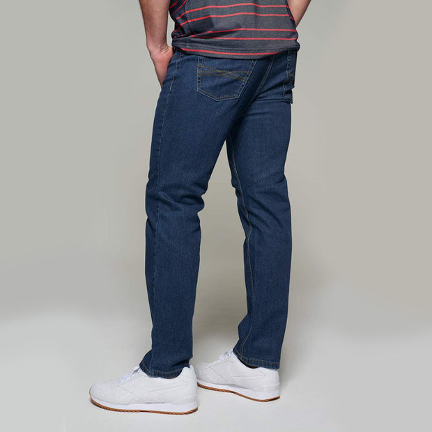 Fortmens model wearing a Paddocks 'Ranger' Dark Blue Denim Jeans - back view