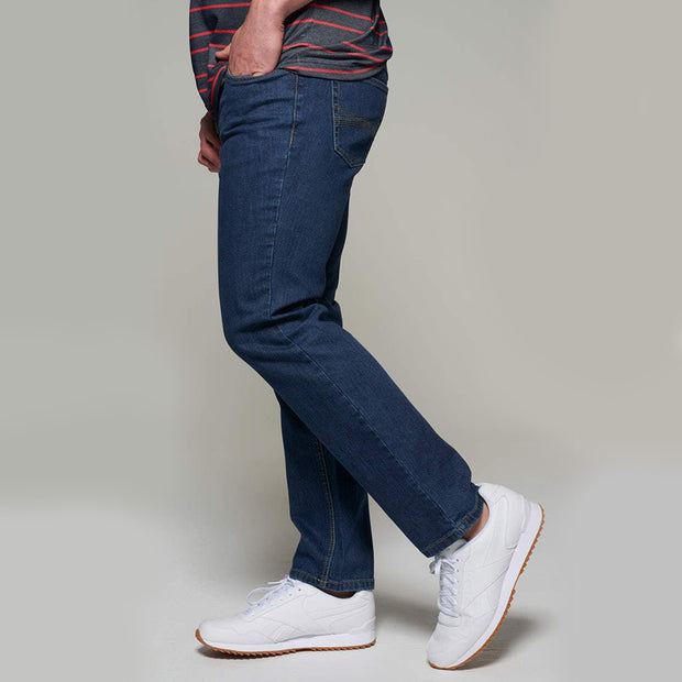 Fortmens model wearing a Paddocks 'Ranger' Dark Blue Denim Jeans - front view