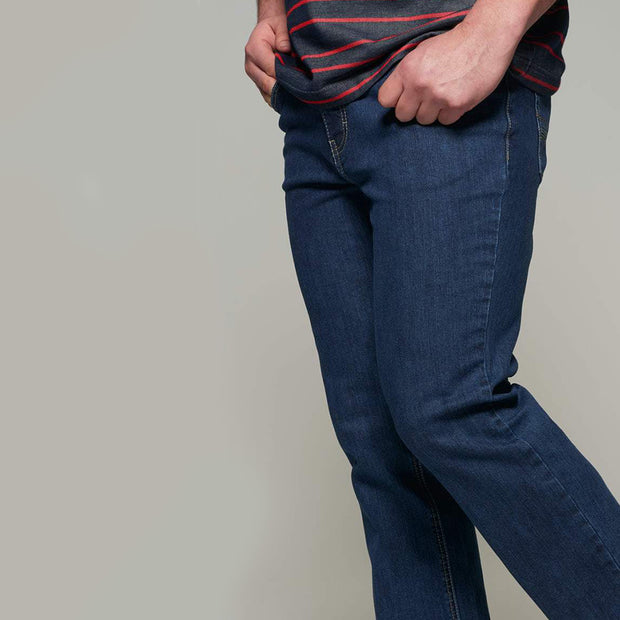 Fortmens model wearing a Paddocks 'Ranger' Dark Blue Denim Jeans - close up view