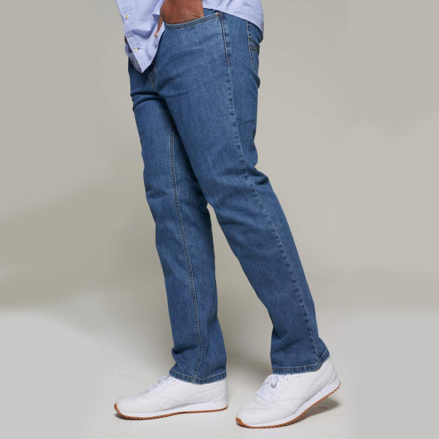 Fortmens model wearing a Paddocks 'Ranger' Stone Blue Jeans - front view
