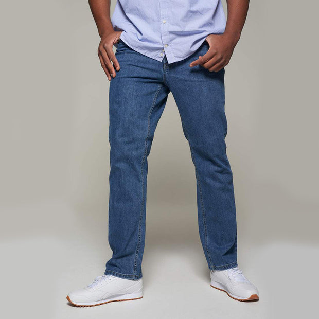 Fortmens model wearing a Paddocks 'Ranger' Stone Blue Jeans - front angle view
