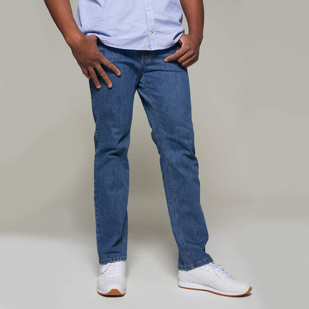 Fortmens model wearing a Paddocks 'Ranger' Stone Blue Jeans - side view