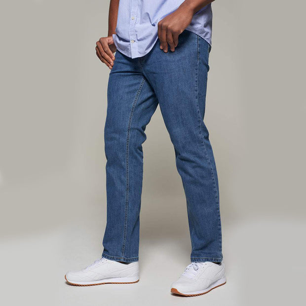 Fortmens model wearing a Paddocks 'Ranger' Stone Blue Jeans - close up view