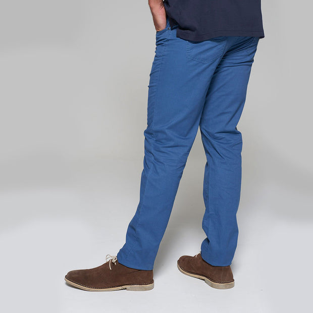 Fortmens model wearing Redpoint Milton 5 Pocket Chino - Blue front/side view