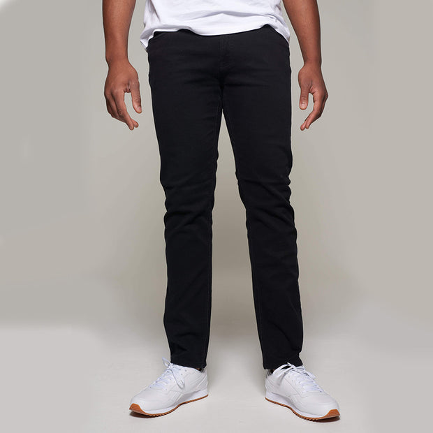 Fortmens model wearing a Redpoint 'Langley' Black Jeans - front view