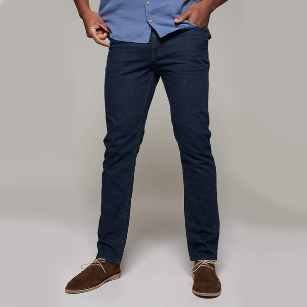 Fortmens model wearing Langley Dark Blue Jeans - front view