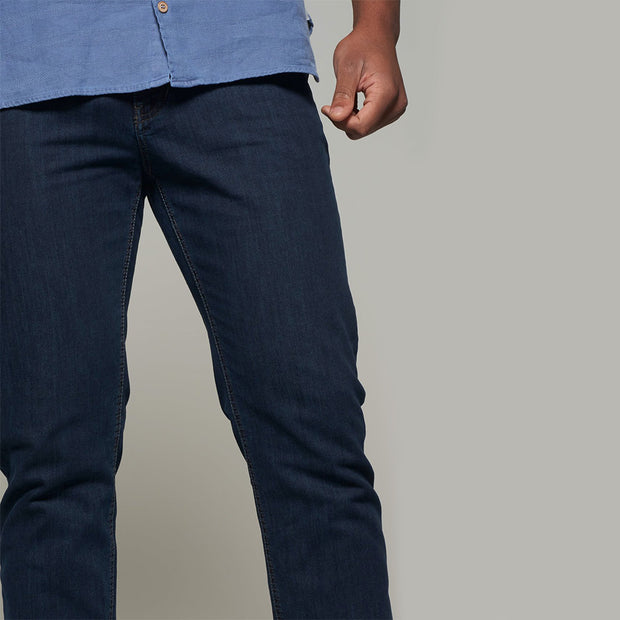 Fortmens model wearing Langley Dark Blue Jeans - close up view
